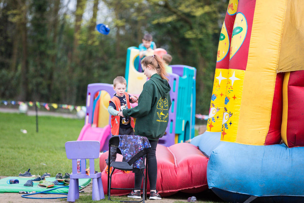 Outdoor play equipment at Mighty Oaks Holiday Club Cirencester
